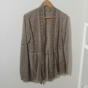 Beige/Taupe Thin Knit Crochet Detail Cardigan